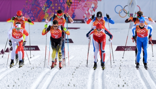 Sportsmen start in the men's Team Sprint cross-country final event at the Vancouver 2010 Winter Olympics in Whistler